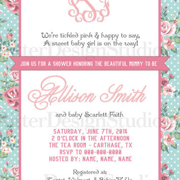 Shabby Chic Flower Floral Baby Shower With Monogram Invitation - Printable Digital File
