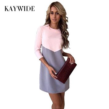 KAYWIDE 2017 Women Winter Dress Series Fashion Cute New Style Three Quarter Sleeve Patchwork Midi Dress For Women A16337