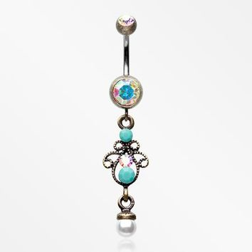 Vintage Boho Elegant Jeweled Pearl Belly Button Ring