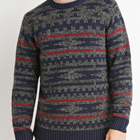Marled Geo Pattern Sweater