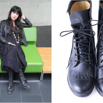 Vintage Boots Black Leather Kiltie Roper Military Packer Lace Up Ankle Boots Womens Size 7