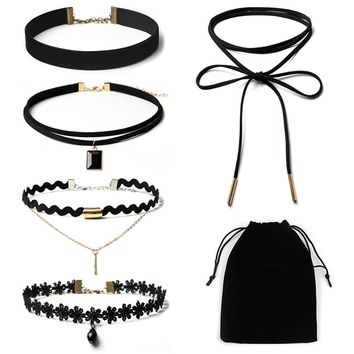 5Pieces Choker Necklace Set Stretch Velvet Classic Gothic Tattoo Lace Choker
