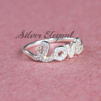 Custom Name Ring With Crystal Stones - Diamond Name Ring - Girlfriend Gift - Luxury Fashion - Fine Jewelry  -  Sterling Silver