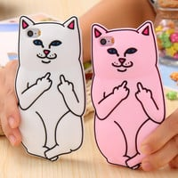 3D Soft Silicon Cat Case For Iphone 5 5s 6 6s  iphone 6 6s Plus Cartoon Animals Rubber Middle Finger Capa Cove