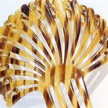 Faux Tortoise Shell Celluloid Hair Comb Mantilla 1910s Edwardian Backcomb Topcomb Wedding Comb  Late Art Nouveau Early Art Deco Fashion