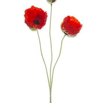 """Red Artificial Poppy Flowers - 20"""" Tall"""