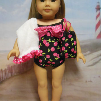 "American girl doll clothes ""Cherries on the Beach"" (18 inch) Swimsuit bathing suit OOAK towel drawstring back pack beach sandals"