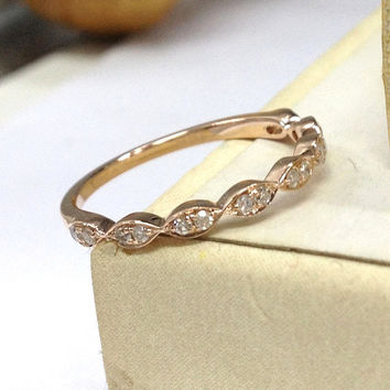 Diamond Wedding Ring 14K Rose Gold,Art Deco Antique,Floral Round Cut Diamond,Half Eternity Matching Band,Anniversary Fine Ring,Stackable