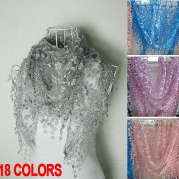 2016 Autumn Women Silk Flower Lace Triangle Spain Scarf Female Women Baby Girls Tassel Shawls And Scarves 18 Colors