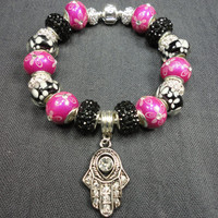 Hamsa Hand Charm Bracelet/Black, White, and Pink/Evil EyeCharm