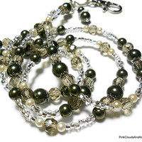 Beaded Lanyard Id Necklace Green Ivory Khaki Pearls and Crystals Handmade Fashion Jewelry with Angel Strong Breakaway