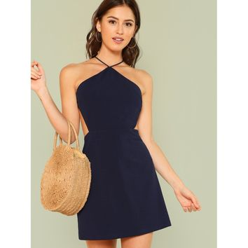 Strappy Back Solid Navy Halter Dress
