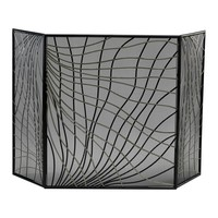 Finley Contemporary Silver & Black Iron Fireplace Screen by Cyan Design