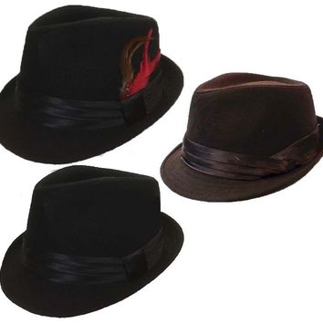 FEDORA TRILBY GANGSTER WOOL FEDORA BUCKET HAT MEN WOMEN CAP with Band