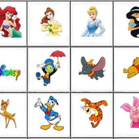 Disney Characters Nail Decals Set of 20 - Choose from 12 designs