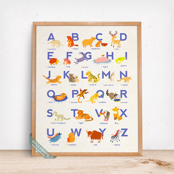 Animal Alphabet Print, Typography Decor, Alphabet Wall Art, Animal Alphabet, Nursery Decor, Playroom Wall Art, Fathers Day Gift