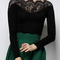 Black Lace Patchwork Long Sleeve T Shirt