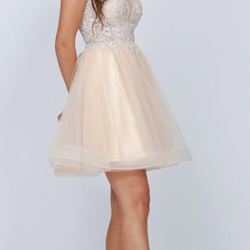 Champagne A-line Homecoming Short Dress Cap Sleeved