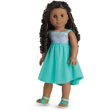 Blue Sea Dress & Crisscross Sandals Outfit for 18-inch Dolls
