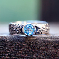 Swiss blue topaz etched floral ring sterling by idlehandsdesigns