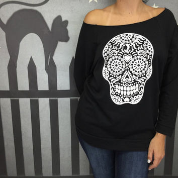 Halloween Sweatshirt, SALE, Skull Shirt, Sugar Skull, Halloween Sweatshirt, Halloween Shirt, Happy Halloween, Witches, Cats