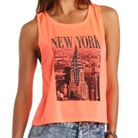 Rhinestone New York Graphic Muscle Tee - Neon Coral
