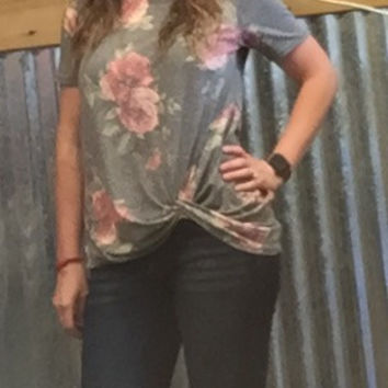 Grey Floral Knotted  Top
