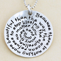 Custom Spiral Words Necklace - Poetry Lyrics Names Hand Stamped Necklace - Personalized Silver Necklace