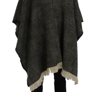 Gray Wool Tweed Fringes Hooded Poncho