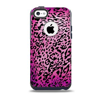 The Hot Pink Cheetah Animal Print Skin for the iPhone 5c OtterBox Commuter Case