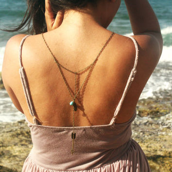 Boho Necklace Back Drop Body Jewelry  Piece Bohemian Hipster Turquoise Bead Feather Bird Arrow Charm Bronze Chain Armor