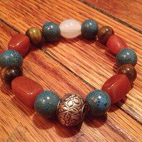 Tigerseye and Blue Ceramic Handmade Beaded Womens Bracelet ft a Vintage Metal Focal Bead - Free Shipping!