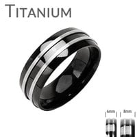 Zenith -FINAL SALE Double Silver Stripe Black and Titanium Comfort Fit Wedding Band