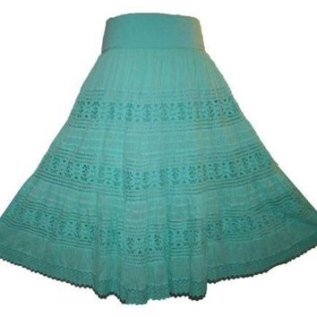 Lace Tiered Lined Long Broom Skirt