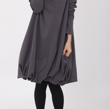 Pile collar cotton dress in Dark gray