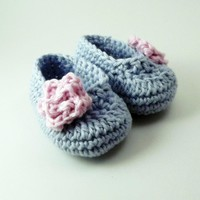 Rose Baby Booties - Blue And Pink - 0 To 3 Month Size | Luulla