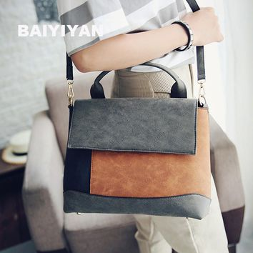 Fashion Patchwork handbag Women nubuck Leather tote bags Purses high quality artificial leather office bag Spell Color Handbag