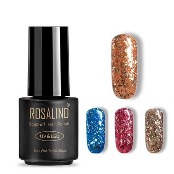 Rosalind Gel 1S 7ML Black Bottle Sparkles Nail Polish Can Be Soak Off Gel Glitter UV LED Lamp Meteor Fragment Gel Glitter