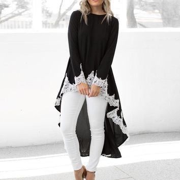 Laced Long Sleeve Hi-Low Top
