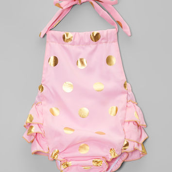 Chicaboo Pink & Gold Metallic Dot Romper - Infant & Toddler | zulily