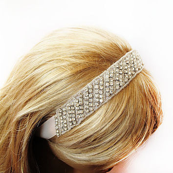 Wedding Bridal Headband, Vintage Style, Bridal Hair Accessories, Rhinestone Headband