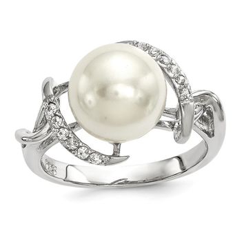 Sterling Silver Majestick 10-11mm White Shell Pearl CZ Ring