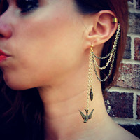 Birds of a Feather Gold Ear Cuff Chain Earrings Body Jewelry