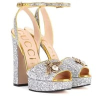 "Hot Sale ""GUCCI"" Fashion Women Bee Princess Shiny High Heels Silver I"