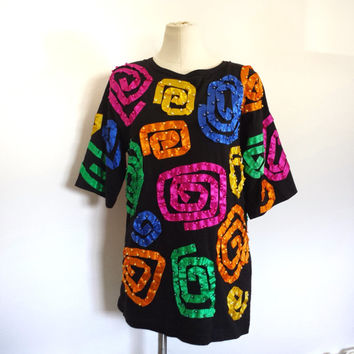 Vintage Women's Black Tee Shirt Dress Tunic - Rainbow Colors - Size M