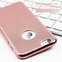 """Luxury Ultra Thin Rose Gold Plating Case For iPhone 6 6S 4.7"""" Grid Dissipate Heat Soft TPU Phone Back Cover For iPhone6 6S Plus"""