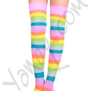 Pastel Striped Thigh Highs