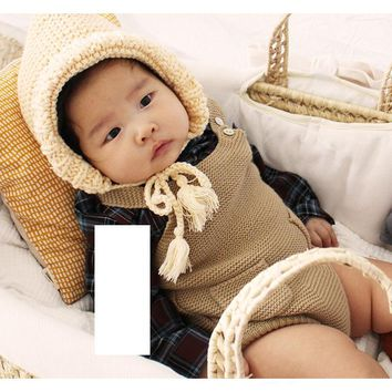 Newborn Clothes Knitted Baby Rompers Boys Girls Romper Children Sleeveless Suspenders Costume Rompers Infant Baby Clothes hsp215
