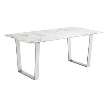 Atlas Dining Table Faux Marble & Brushed Stainless Steel