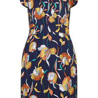 Cute Crossover Party Dress Navy Retro Tulip